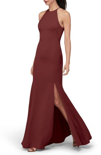 Watters Mical Bellessa Stretch Crepe Gown, Red