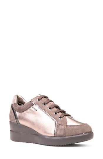 Geox Stardust Wedge Sneaker, Brown