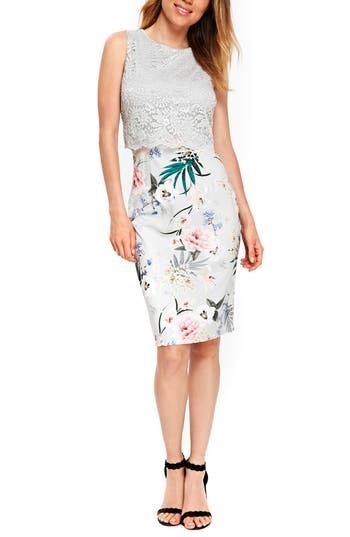 Wallis Lace Bodice Floral Sheath Dress, US / 12 UK - Grey