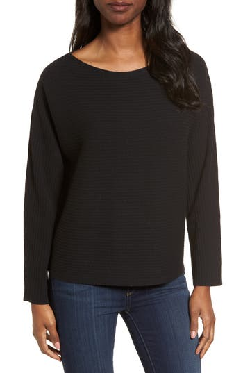Eileen Fisher Boxy Ribbed Wool Sweater, Black