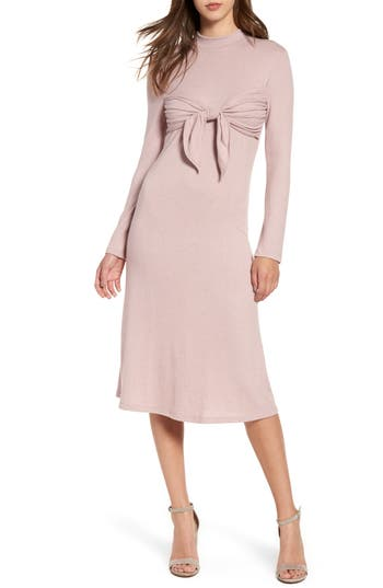 Everly Tie Front Knit Dress, Pink