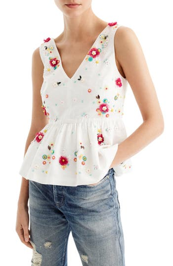 Women's J.crew Embellished Floral Top, Size 00 - White