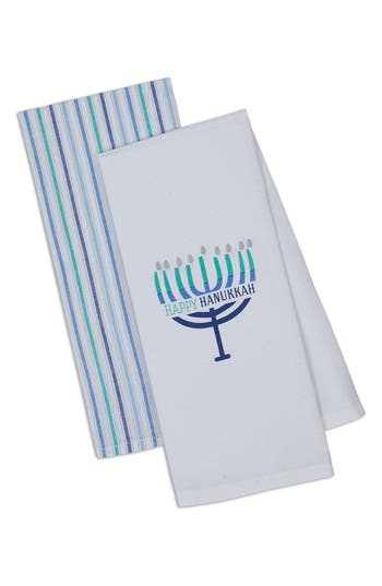 Design Imports Happy Hanukkah Set Of 2 Dish Towels, Size One Size - White