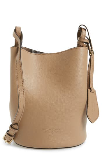 Burberry Small Lorne Leather Bucket Bag - Beige
