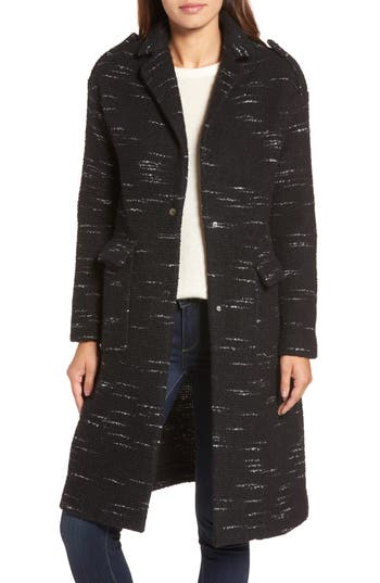 Bernardo Wool Blend Sweater Coat, Black