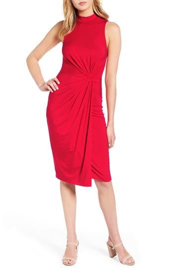 Soprano Twist Front Body-Con Dress, Red