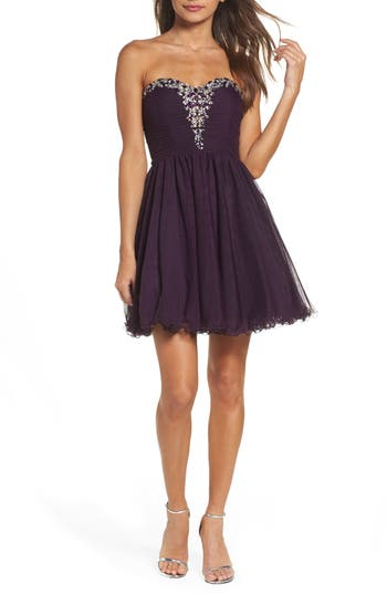 Blondie Nites Embellished Strapless Fit & Flare Dress, Purple