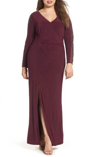 Plus Size Xscape Embellished Jersey A-Line Gown, Red