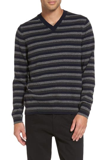 Men's Vince Stripe V-Neck Cashmere Sweater, Size Small - Blue
