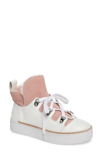M4D3 Sierra Faux Fur Platform Sneaker, White