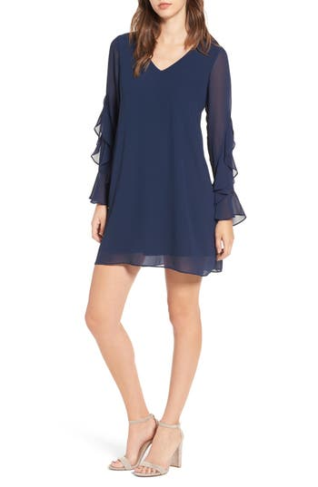 Women's Soprano Ruffle Sleeve Shift Dress, Size X-Small - Blue