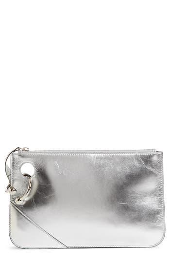 J.w.anderson Pierce Metallic Leather Clutch - Metallic