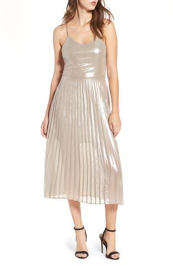 Love, Fire Metallic Pleated Midi Dress, Metallic