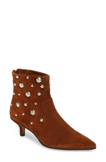 Topshop Ascot Studded Pointy Toe Bootie - Brown