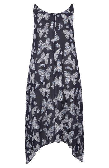 Plus Size Evans Butterfly Print Handkerchief Hem Maxi Dress, US / 18 UK - Blue