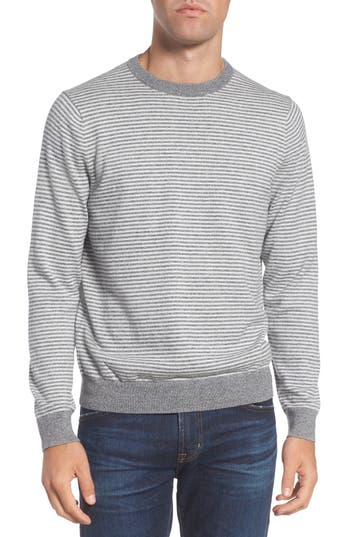 Big & Tall Nordstrom Shop Stripe Cotton & Cashmere Crewneck Sweater, Grey
