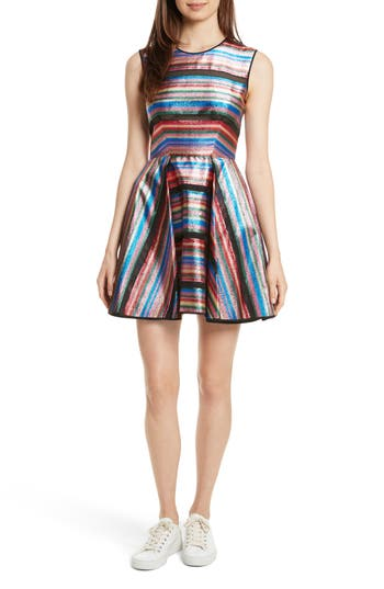 Milly Balli Metallic Stripe Fit & Flare Dress, Blue