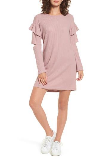 Everly Ruffle Sleeve Knit Dress, Pink