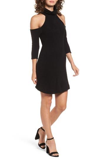 Everly Cold Shoulder Turtlenck Sweater Dress, Black