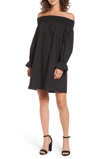 Women's Soprano Off The Shoulder Shift Dress, Size X-Small - Black