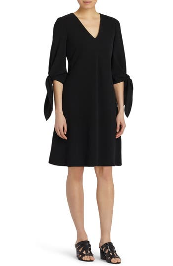 Lafayette 148 New York Kenna Tie Sleeve Fit & Flare Dress, Size Petite - Black