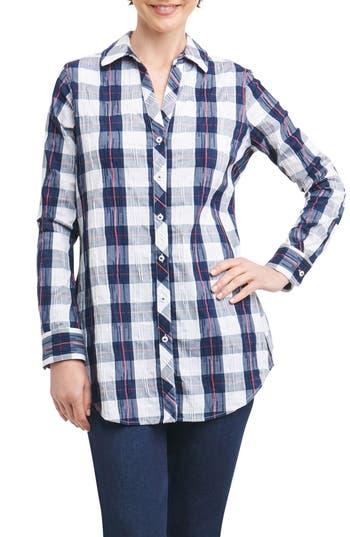 Foxcroft Fay Crinkle Plaid Stretch Cotton Blend Tunic Shirt, Blue