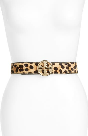 Women's Tory Burch Reversible Leather & Genuine Calf Hair Logo Belt, Size X-Small - Multi