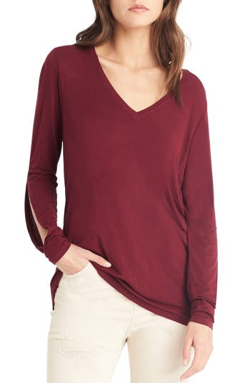 Michael Stars Slit Sleeve Top, Size One Size - Red