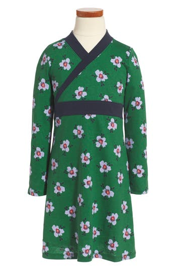 Girl's Tea Collection Kelvingrove Wrap Neck Dress, Size 4 - Green