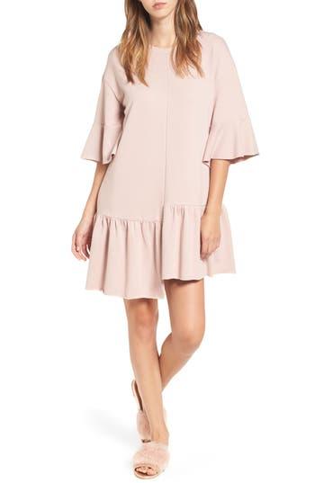Bp. Asymmetrical Flounce Hem Sweatshirt Dress, Pink