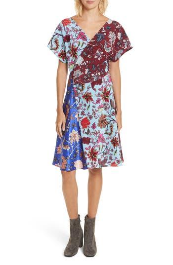Women's Diane Von Furstenberg Draped Faux Wrap Silk Dress, Size 4 - Blue