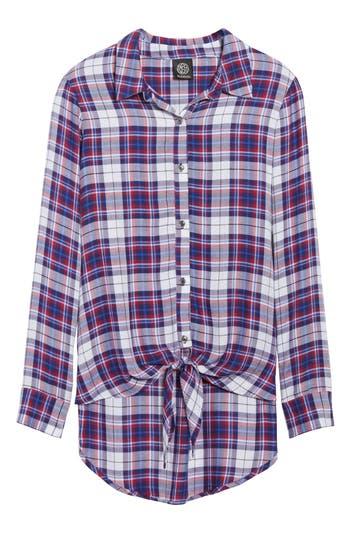 Women's Bobeau Tie Front Plaid Shirt, Size Medium - Blue