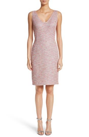 St. John Collection Metallic Tweed Sheath Dress, Pink