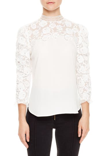 Women's Sandro Ruched Sleeve Lace Blouse