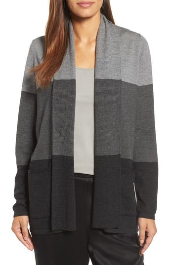 Eileen Fisher Colorblock Merino Wool Cardigan, Grey