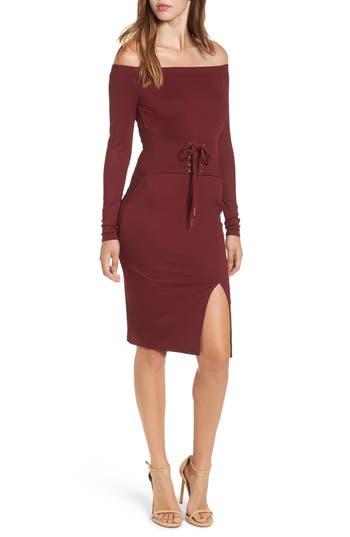 Love, Fire Off The Shoulder Corset Dress, Burgundy