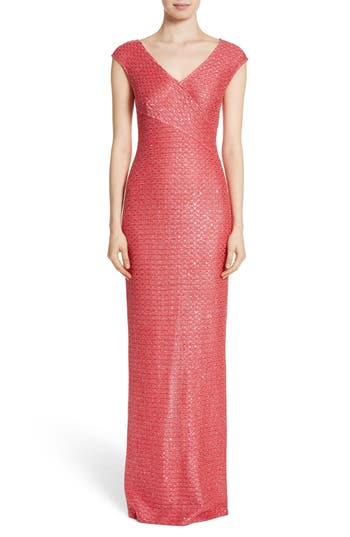 St. John Evening Cap Sleeve V-Neck Hansh Column Gown, Coral