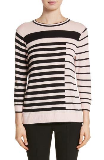 Women's St. John Collection Intarsia Stripe Sweater, Size Medium - Pink