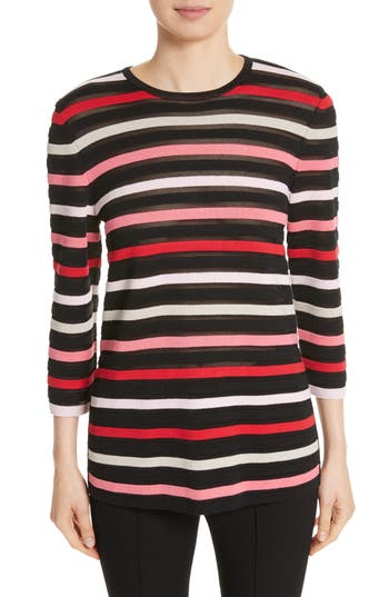 Women's St. John Collection Ombre Stripe Sweater, Size Petite - Black