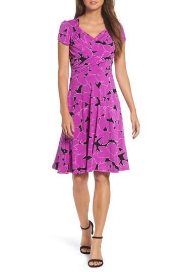 Leota Print Jersey Fit & Flare Dress, Purple