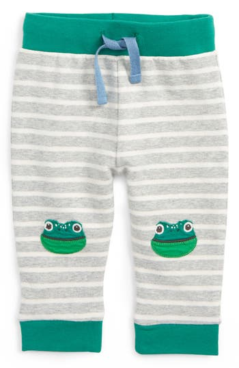 Toddler Boy's Mini Boden Fun Frog Applique Pants, Size 0-3M - Grey