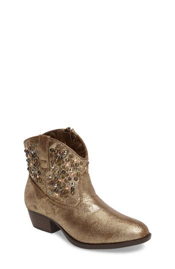 Girls Frye Deborah Embellished Metallic Bootie Size 3 M  Metallic