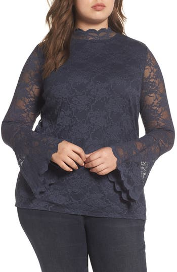 Plus Size Women's Vince Camuto Bell Sleeve Lace Top