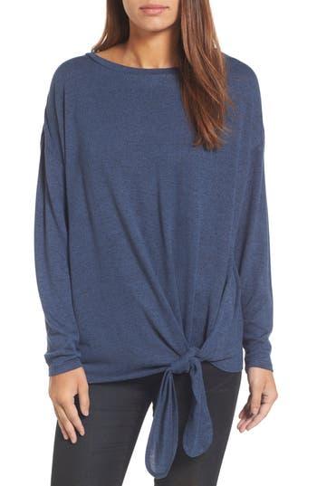 Caslon Tie Front Sweatshirt, Blue