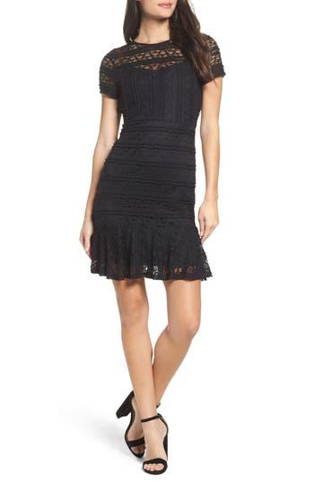 Nsr Lace Fit & Flare Dress, Black