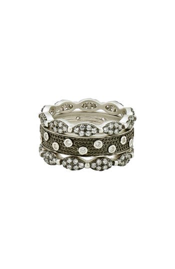 Women's Freida Rothman Instrial Finish Set Of 3 Stackable Rings