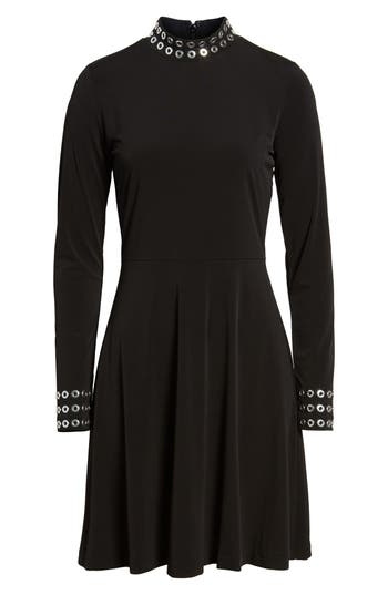 Michael Michael Kors Grommet Mock Neck Knit Dress, Black