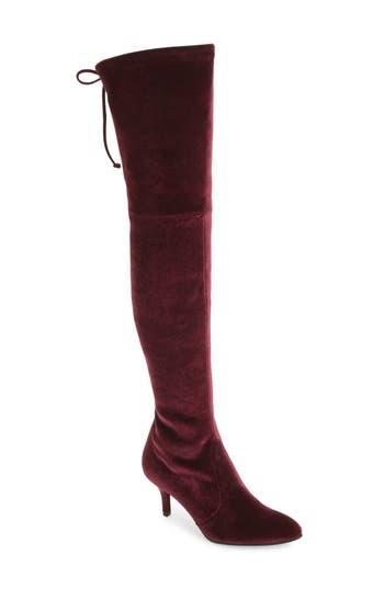 Stuart Weitzman Tiemodel Over The Knee Stretch Boot- Burgundy