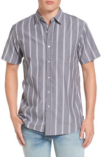 Brixton Decca Stripe Woven Shirt, Grey