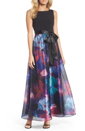 Ellen Tracy Floral Splash Mixed Media Maxi Dress, Black